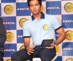 Unmukt Chand at the launch of latest range of HCL ME tabs