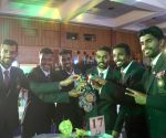Indian men's hockey team at a felicitation programme