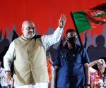 Kolkata : Indian Minister of Home Affairs Amit Shah at a public meeting during the election campaign for the State Assembly election at Salt Lake in Kolkata on April 13, 2021