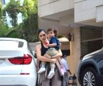 Indian model Gabriella Demetriades with her son spotted at Bandra