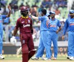 Jasprit Bumrah celebrates fall of wicket of Shai Hope