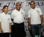 Mary Kom, Virender Sehwag during CRPF press conference