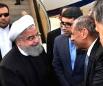 Iran President Hassan Rouhani arrives in Hyderabad