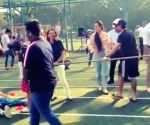 Soha Ali Khan falls playing tug-of-war at Inaaya's sports day