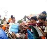 Pappu Yadav distributes relief material among flood victims