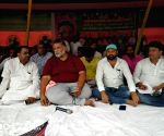 Pappu Yadav during a sit-in demonstration