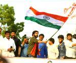 Srikakulam (Andhra Pradesh): Pawan Kalyan during 'porata yatra'