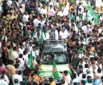 H. D. Deve Gowda during farmers' protest rally
