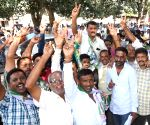 JD-S workers celebrate party's performance in Karnataka civic polls