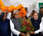 Sharad Yadav and Nitish Kumar during a party programme