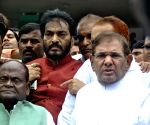 Sharad Yadav talks to press