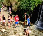 Tourists enjoy the spring of Ein Fara