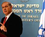 Benjamin Netanyahu addresses a news conference