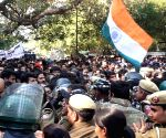 Protesting JNU students stopped before Parliament