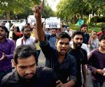 JNUSU demonstration against Rajnath Singh