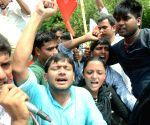 Kanhaiya leads demonstration against Patna University
