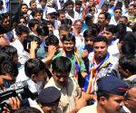 Kanhaiya Kumar visits Deekshabhoomi on Ambedkar's birth anniversary