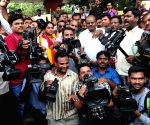 Protest against ban on camera persons from covering Karnataka assembly sessions