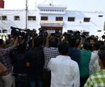 Journalists outside Dasna Jail
