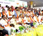 Yeddyurappa with newly elected BJP MPs from Karnataka