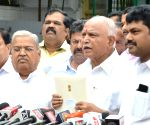 B. S. Yeddyurappa talks to the media