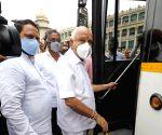 BS Yediyurappa inaugurates Olectra Electric bus trial run at Vidhana Soudha