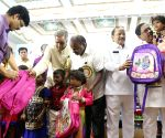 Kumaraswamy distributes school bags at the inauguration of Karnataka Public School