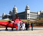 Karnataka CM Siddaramaiah arrives at Suvarna Soudha by helicopter