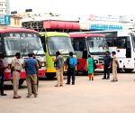 KSRTC Buses parked at Majestic Bus stand amid COVID-19 pandemic
