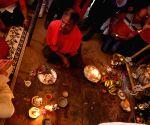 NEPAL-KATHMANDU-DASHAIN FESTIVAL-PACHALI BHAIRAV-FORMER KING PRAYERS