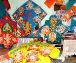 Fabricated kites with pictures of Lord Ganesha