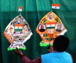 Kitemaker Jagmohan Kanojia displays kites in the colours of the national flag