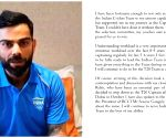 Virat Kohli to quit as T20I captain after T20 World Cup