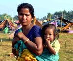 Villagers take refuge in makeshift relief camps