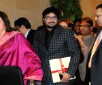 Babul Supriyo, Sanjiv Goenka at the launch of Hema Malini's audio CD
