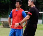 Bhaichung Bhutia during a training camp