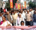 Leftists participate in a protest rally against a host of issues