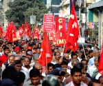 Left leaders during a rally to mark the 22nd anniversary of demolition of Babri Masjid