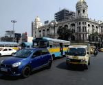 Kolkata : Vehicles are available at Esplanade during Bharat Bondh in Kolkata on Feb 26, 2021