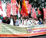Left's protest rally during nationwide trade union strike