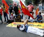 Left & Congress protest during nationwide trade union strike