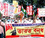 Kolkata : Left Front along with CPI(ML) Liberation workers in Kolkata took part in a protest rally in support of 'Bharat Bandh' called by farmers' unions to protest against three agriculture laws of the Central Government