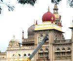 : Lighting arrangements at Mysuru Palace ahead of Dasara celebrations