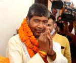 Lok Janshakti Party rebel leader Pashupati Kumar Paras filing his nomination paper for party National president in Patna.
