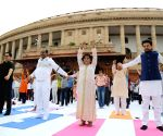 Yoga session organised as part of 'Fit India' Movement at Parliament