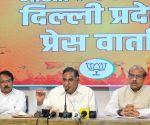 LOP Ramvir Singh Bidhuri, Former Delhi BJP President Vijendra Gupta and State General Secretary Harsh Malhotra address a press conference on an important issue at BJP state office in New Delhi