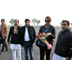 Actors arrive to attend the closing ceremony of 'Saifai Mahotsav