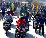 Magician Samrat Shankar rides a motor cycle blindfolded
