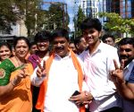 Karnataka bypoll - K Gopalaiah celebrates his victory