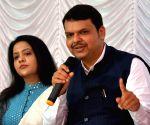 Devendra Fadnavis, Amruta Fadnavis during a Diwali programme